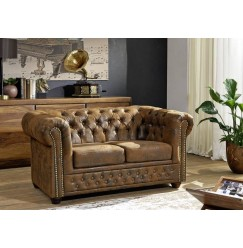 CAMBRIDGE Sedačka Chesterfield 148 cm, hnedá