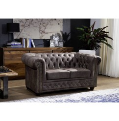 CAMBRIDGE Sedačka Chesterfield 148 cm, tmavosivá